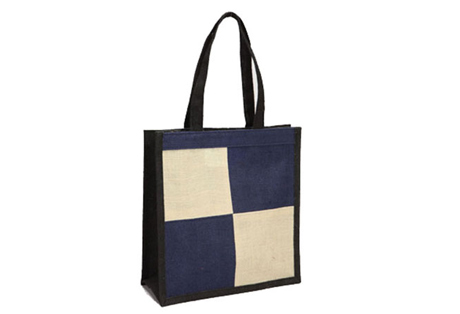 Two colors shopping bag of Fine Jute Fabric