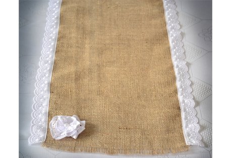 Table Runner of Burlap and Lace