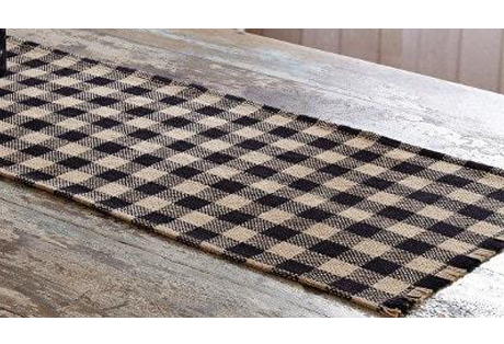 Table Runner of White and Black Cotton