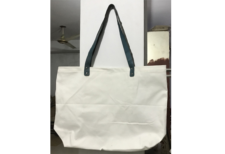 Cotton Tote Bag with Leather Straps