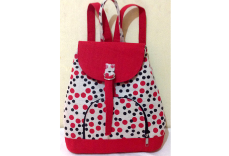 Red Backpack with Polka Print